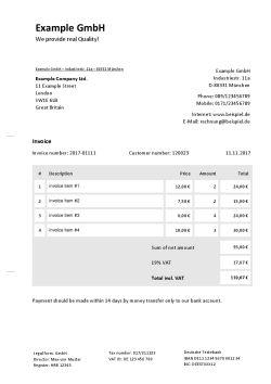 Rechnung Auf Englisch Schreiben Kostenlose Vorlage