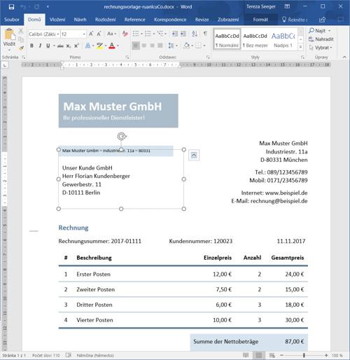 Rechnungsvorlagen Für Word Download Kostenlos